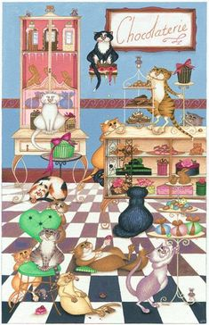 gatos golosos, ilustración de Linda Jane Smith
