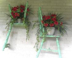 Beautifully repurposed chair halves as planters!