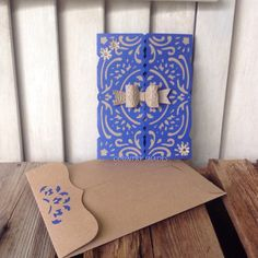 Happy Birthday Handcrafted Gatefold Card Handmade Kraft Blue Cardstock,Di Cut Embossed Bow,Tag,Die Cut Envelope,Greeting Card,Party Supplies by CountryShades on Etsy