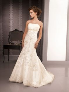 Satin Strapless Chapel Train Trumpet/Mermaid Wedding Dresses With Embroidery