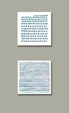 Set of 2 Watercolors, Abstract Painting, Square,  Modern, Dots Painting, Geometric Art, Minimalist Art, Indigo, Navy Blue, Blue, Stripes