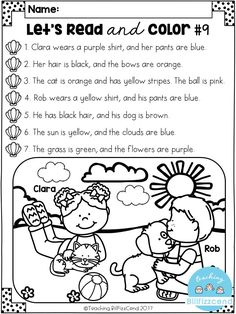 FREE Read and Color Listening Comprehension These are super duper cute read and color pages. Perfect for your first grade students. These can also be used as listening comprehension for your kindergarten students. Reading Comprehension Activities, Reading Worksheets, Reading Fluency, Literacy Activities, Teaching Reading, Literacy Worksheets, Free Reading Games, Summer Worksheets, Grade 1 Reading