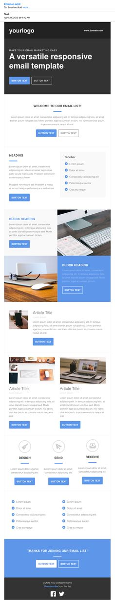 Free HTML Responsive Email Template PSD Templates Pinterest - responsive email template