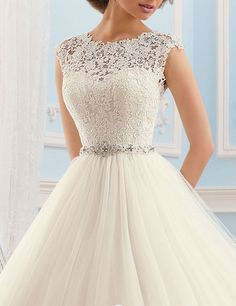 LovingDress Women's Tulle Deep V Back A Line with Beaded Sash 2016 Wedding Dress at Amazon Women's Clothing store: