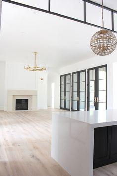 Limestone mantel in modern living room design