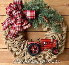 A personal favorite from my Etsy shop https://www.etsy.com/listing/559239122/christmas-tractor-wreath-front-door