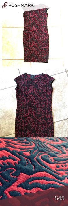 NWOT ASOS pencil dress Very elegant and classy. Wine/burgundy color.  33 inch in length. 14.5 armpit to armpit.  Elastic though fabric feels cottony and soft.   Not a print, actual embossed design.  I welcome trades and offers! ASOS Dresses
