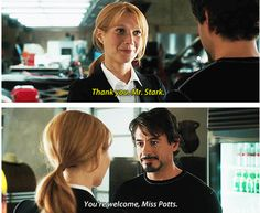 My jealousy grows more and more of Pepper Potts...