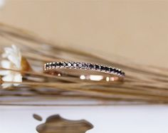 Solid Rose Gold Black Diamond Band Wedding by JulianStudio Gold Wedding Jewelry, Wedding Rings Rose Gold, Rose Gold Jewelry, Gold Jewellery, Diamond Jewelry, Bridal Jewelry, Diamond Crown Ring, Black Diamond Bands, Wedding Rings Solitaire