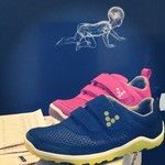 VIVOBAREFOOT kids trainers - the Kids Neo Velcro in Pink or Navy/Sulphur
