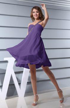 Modest A-line One Shoulder Criss-cross Straps Short Ruching Bridesmaid Dresses