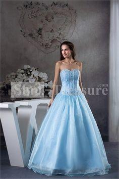 Blue Satin/Tulle Beading Floor-Length Sleeveless A-Line Prom Dress -Wedding  ☻ ☻ ☺ ☂