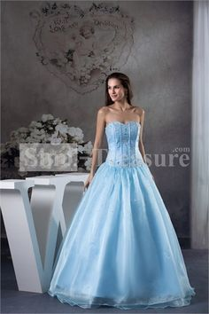 Blue Satin/Tulle Beading Floor-Length Sleeveless A-Line Prom Dress -Wedding  ☻ ☻ ☺ ☂