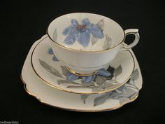 Windsor Clarence Blue Floral Handpainted Bone China Vintage Cup Saucer Plate Trio England