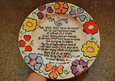 Blessed Beyond Measure: Acts of Service and Kindness- Week 8 Sharpie Plates, Sharpie Crafts, Sharpies, Sharpie Art, Pottery Painting, Ceramic Painting, Painted Pottery, Craft Gifts, Diy Gifts