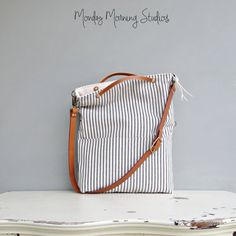 Cotton Ticking Tote in Deep Navy Tote by MondayMorningStudios