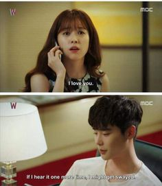 W Two Worlds She is so hilarious and cute with these fake saranghae scenes and his reactions on them The cuteness level of this two! And we're only on episode 4 Korean Drama Songs, Korean Drama Funny, Korean Drama Quotes, Kdrama W, Kdrama Memes, Bts Memes, Drama Film, Drama Movies, Drama Drama