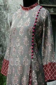 a stunning mughal-styled high collar dress in bagru print & fabric potli buttons! main fabric: handblock printed fabric from natural dyes from bagru, Salwar Neck Designs, Kurta Neck Design, Dress Neck Designs, Kurta Designs Women, Blouse Designs, Pakistani Dresses Casual, Pakistani Dress Design, Kurta Patterns, Dress Patterns