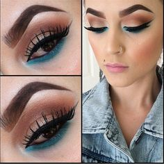 cat eye and blue eyeliner  Loving the black and blue combo, I bought Gosh electric blue liner- DO IT!! :D