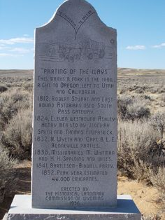 Parting of the ways pioneer historical marker, Oregon trail WY