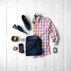 Men's Casual Fashion, Plaid, Denim & Sneakers #denim #sneakers #menstyle