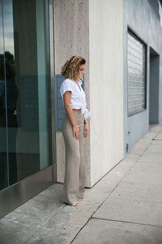 Karla's Closet. Wide leg silk pants + mens white shirt. LOVE.