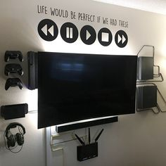 Customer Images of their TV and Media Setups, after installing HIDEit Mounts. HI… Customer Images of their TV and Media Boys Game Room, Boy Room, Teen Game Rooms, Small Game Rooms, Teen Lounge Rooms, Ultimate Gaming Room, Gaming Room Setup, Gaming Rooms, Computer Gaming Room