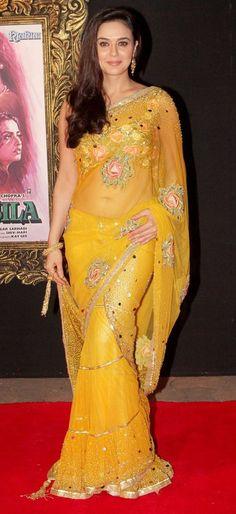 Bollywood Actresses In Saree - Preity Zinta In Yellow Saree