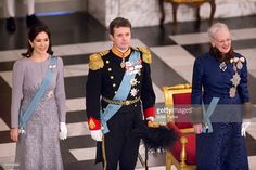 Queen Margrethe of Denmark, Crown Princess Mary of Denmark and Crown Prince Frederik of Denmark attend a New Year's Levee held by Queen Margrethe of Denmark for Diplomats at Christiansborg Palace on January 3, 2017 in Copenhagen, Denmark.