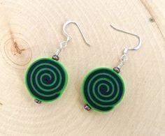 Trippy Spiral Earrings  Groovy Psychedelic Jewelry by KatiesBasement, $18.00