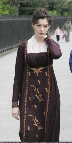 Becoming Jane (2007). Anne Hathaway as Jane Austen. #CostumeDesign by Eimer Ni Mhaoldomhnaigh