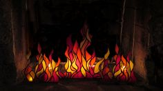 Stained glass fire in the fireplace
