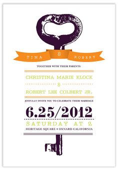 "Parallelogram ""The Key"" http://www.parallel-play.com/blog Wedding stationery for Jay Doronio & Shannon Losorelli-Doronio designed for http://parallelogram.parallel-play.com/ Orange, Purple & Lime wedding Modern Wedding DIY wedding invites with vintage feel"
