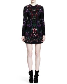 Alexander McQueen Long Sleeve Feather-Print Shift Dress, Multicolor - Neiman Marcus