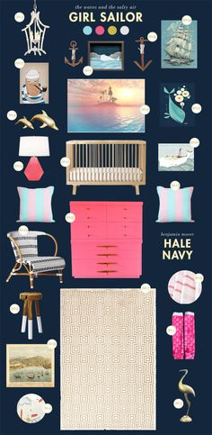 Girl nautical nursery inspiration board. About time! Why do the boys get to have all the nautical fun.
