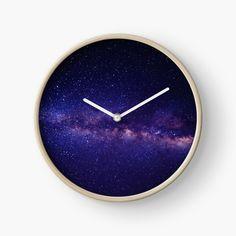'Purple Galaxy' Clock by EllenBeb Modern Prints, Art Prints, Quartz Clock Mechanism, Hand Coloring, Home Deco, Purple, Printed, Awesome, Metal