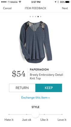 Stitch Fix Stylist: I like the v-neck and overall look of this shirt a lot!