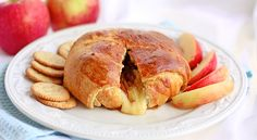 Crescent Wrapped Baked Apple Brie - Perfect appetizer for Thanksgiving Dinner!