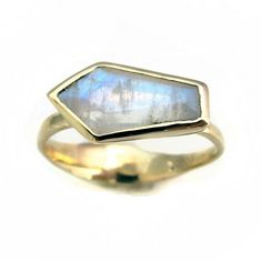 Gold Moonstone Coffin Ring - Michele Varian