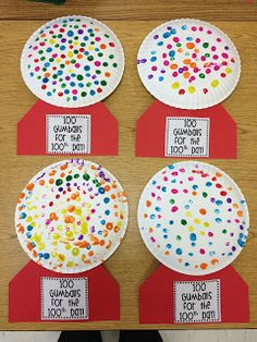 Little Miss Glamour Goes To Kindergarten: happy 100th day! Do with pre-cut dots or stickers on a paper plate, have students graph the amount of each color used.