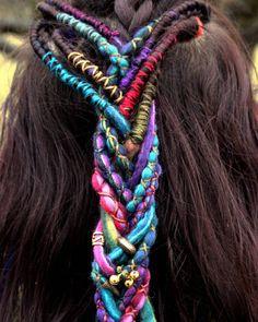 Hippie Braids, Hippie Hair, Bohemian Hairstyles, Dreadlock Hairstyles, String Hair Wraps, Thread Hair Wraps, Wool Dreads, Dreadlocks, Hair Threading