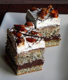 Mákos-pudingos szelet   Hungarian Cake, Hungarian Recipes, Poppy Cake, Cake Recipes, Dessert Recipes, Cake Bars, Winter Food, Cake Cookies, No Bake Cake