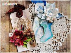 Mój kreatywny świat: Mediowe świąteczne tagi/Mixed media christmas tags...