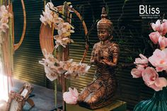 Simple decorations, warm golden light and a meticulous statue of Buddha as well as created a unique, solemn yet luxury for our couples who fancy for the simplicity of Zen & Buddhism concept. #vietnamwedding #weddingbyblissweddingsevents #zenweddingdecor #indoorwedding #gallerydecoration #zenweddingdesign