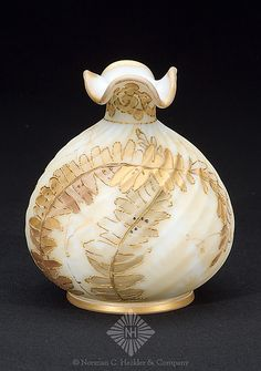Crown Milano Molded Swirl Vase with Gold Fern Decoration - 5 inch HOA 4 1/2 inch DOA