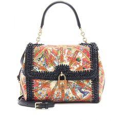 Dolce & Gabbana Dolce Print Raffia And Linen Shoulder Bag ($2,045) ❤ liked on Polyvore