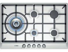 3. Bosch PCS815B90E Classixx: 5 burner gas hob with wok style burner brushed steel, W: 76.2