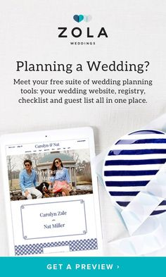 """Planning a wedding? Meet your FREE suite of planning tools: your website, registry, checklist, and guest list all in one place. We like to think of it as """"the heart of your wedding."""" We hope you agree."""