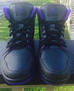 men shoes NIKE Air Jordan 1 Flight 2 Basketball Black Purple Retro size 8 new #Jordan #BasketballShoes