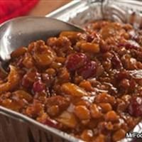 Baked Beans with ground beef, bacon, & brown sugar